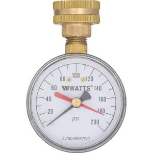 A Water pressure gauge is used to test for high water pressure